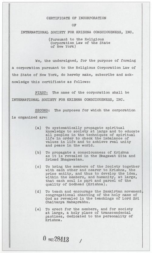 Certificate of Incorporation of ISKCON