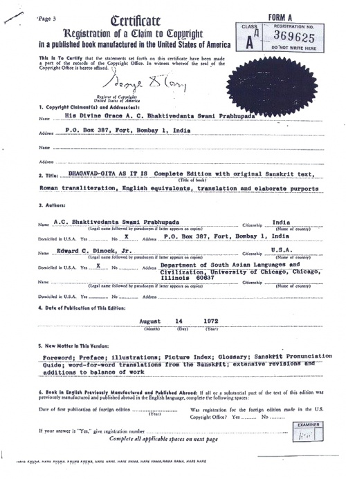1972 Claim to Copyright