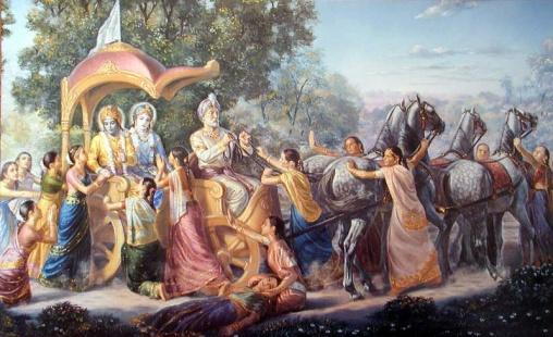 Akrura takes Kṛṣṇa and Balarāma to Mathurā